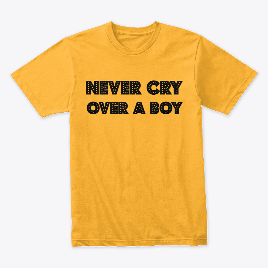 Never Cry Over a Boy Text Printed T-Shirts